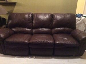 Leather sofa and matching recliner.