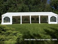 Wedding Tents for Rent, tables, chairs, lighting