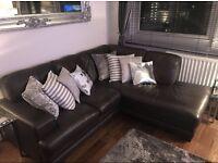 Dark Brown leather DFS corner sofa