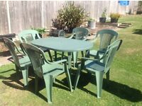 Table and 6 chairs, garden/ patio set good condition packs away easily for storage