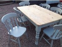 Up Cycled Solid Pine Farmhouse Table and Chairs (Can Deliver)