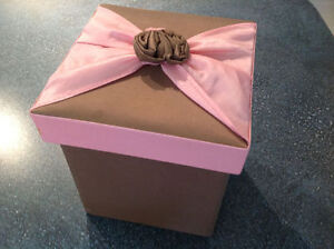 Brown and Pink fabric lined gift box with flower accent