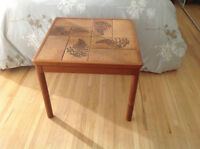 Modern teak and tiled coffee and end tables