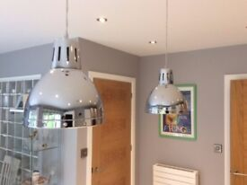2 very stylish medium Wofi Deventer Pendant Lights complete with quality bulbs