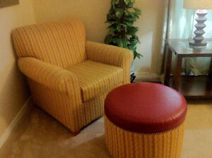 BEAUTIFUL ACCENT CHAIR WITH OTTOMAN