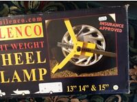 Milenco light weight wheel clamp, 13, 14, 15 inches, new
