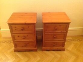 A Pair of matching Bedside Tables (Pine) with three drawers each