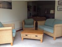 Wicker Three Piece Conservatory Suite Sofa, Chairs, Coffee Table, Good Condition