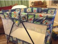 Folding cot- travel cot- playpen and high chair