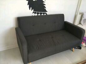 Evie 2-seater fabric sofa, charcoal grey.