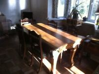 Dining Table/6 ft slate-bed snooker table, (plus 6 chairs if wanted).