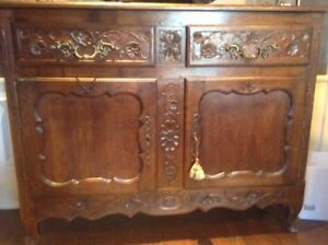 Solid Oak antique French Country buffet (2 pieces)