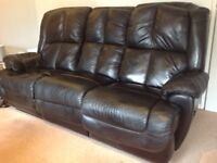 Leather style black recliner sofa