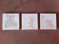 Nursery canvas pictures x 3