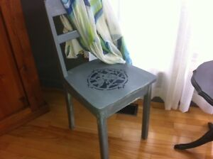 Shabby Chic chalk painted vintage chairs, tables, and framed art
