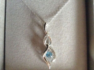 Diamond Accent Blue Topaz in Sterling  Silver Necklace