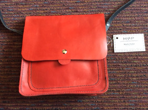 NEW Handmade Red Leather Bag