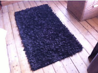 Brown high pile rug, approx. 140x80