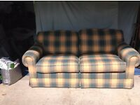 Multiyork Sofabed in excellent condition as little used green and yellow/gold about 2 metres long