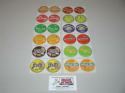 Vendstar 3000 Bulk Candy Vending Machine 24 Candy Label Stickers - New Oem