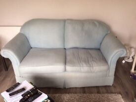 Wesley Barrell 2 and 3 seater sofas in light blue.