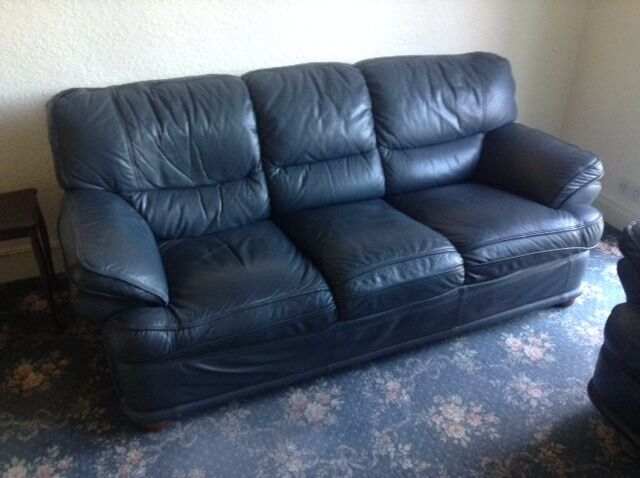 Leather 3 seater sofa and reclining chair in blue in for Blue leather reclining sofa