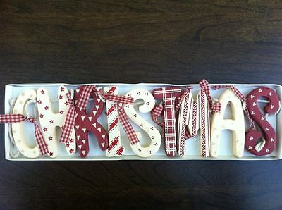 Christmas Garland Decoration Wooden Vintage Red Cream Style Hanging Boxed