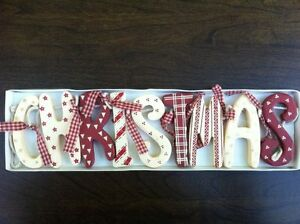 Chic-Shabby-Christmas-Wooden-Garland-Red-Cream-Vintage-Style-Decoration-Boxed