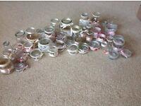 Decorated jars wedding flowers tealights