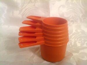 Vintage Orange Tupperware Tupper Ware Measuring Cups