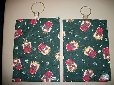 Pair handmade wall quilt/hangings--Christmas/holiday green/angels/stars/glitter ()