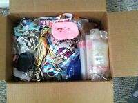 Box of Grosgrain Ribbon,Metal Clips,Bags. & More
