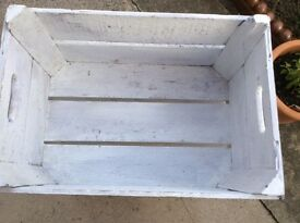 Vintage Solid Wood Apple Crate - Chalk painted light grey Very good condition