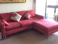 Italian red suede sofa with chaise longue