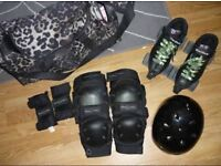 Riedell skates uk5, Protec helmet, knee pads and wrist guards. Roller derby.