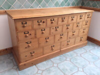 Lightly Waxed Solid Pine Merchants Chest with 22 Draws - Brass Content Plates