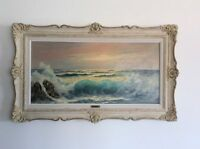 Listed Canadian artist Cole Bowman seascape oil painting