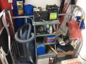 Grey Metal Storage Cabinet for 2 golf bags + shelves