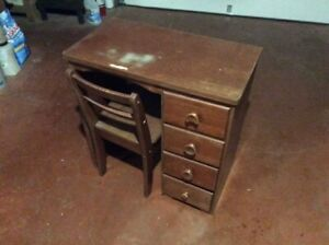 "Vintage Student Desk and Hardwood Chair, 31""W,x17""D,x31""H"