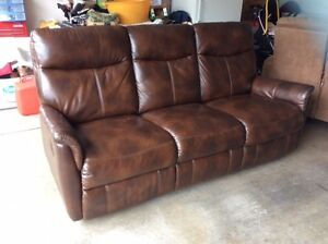 leather couch with recliners and loveseat