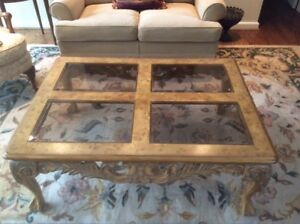 Burled solid wood coffee table - $200