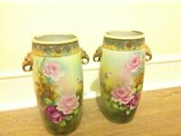 2 hand painted Japanese vases