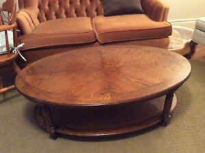 Solid Wood Oval Coffee Table 4ft. L, 2.5ft. W, AVAILABLE