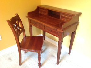 WOOD WRITING/COMPUTER SECRETARY AND CHAIR