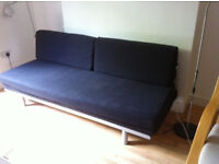 Muji sofabed, charcoal, 3 seater, single or double bed, decent condition (see photo), Camden Town
