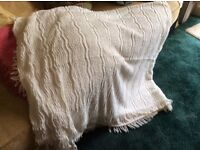 Cream single bed size Fringed Candlewick Bedspread. VGC - clean and unmarked