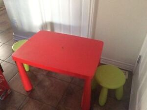 Ikea Mammut table with blue chair and 2 green stools