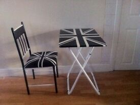 union jack table /desk with matching chair .