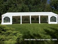 Outdoor Wedding Event Tent rentals, tables, chairs, lighting