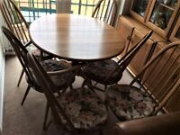 ERCOL- EXTENDABLE - CHESTER - ELM - DINING TABLE, 5 QUAKER DINING CHAIRS, 1 QUAKER CARVER CHAIR